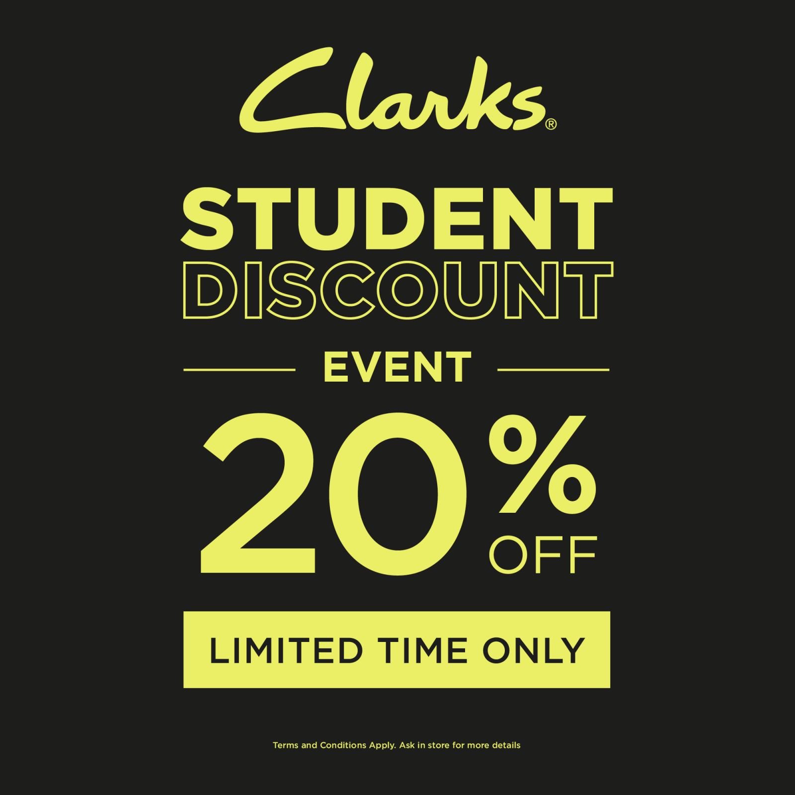 Additional 20% off* for Students!